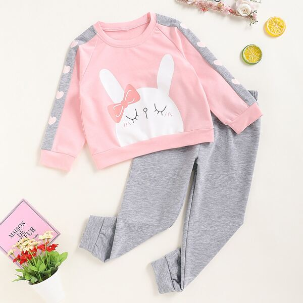 Toddler Girls Contrast Panel Rabbit Print Sweatshirt With Joggers, Multicolor