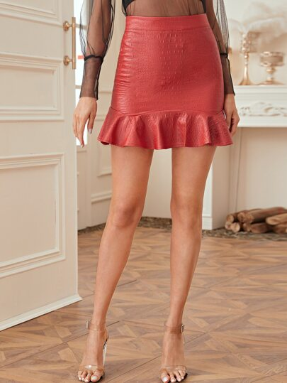 Crocodile PU Leather Ruffle Hem Skirt