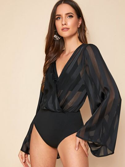 V-neck Contrast Chiffon Sheer Bodysuit