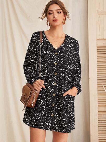 Polka Dot Print Button Up Dress