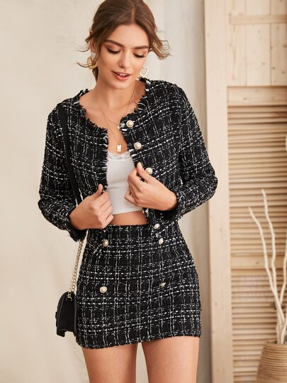 Raw Trim Tweed Jacket & Button Detail Skirt Set