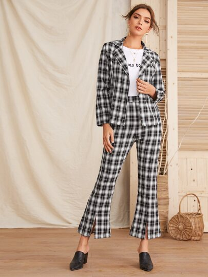 Plaid Self Tie Blazer & Flare Leg Pants Set