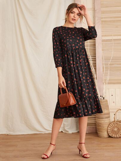 Rose Print Ruffle Hem Smock Dress