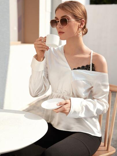 Solid Asymmetrical Neck Satin Blouse
