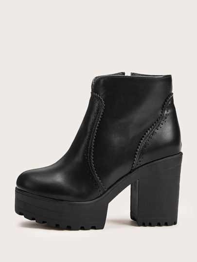 Cut Out Jagged Detail Platform Chunky Boots