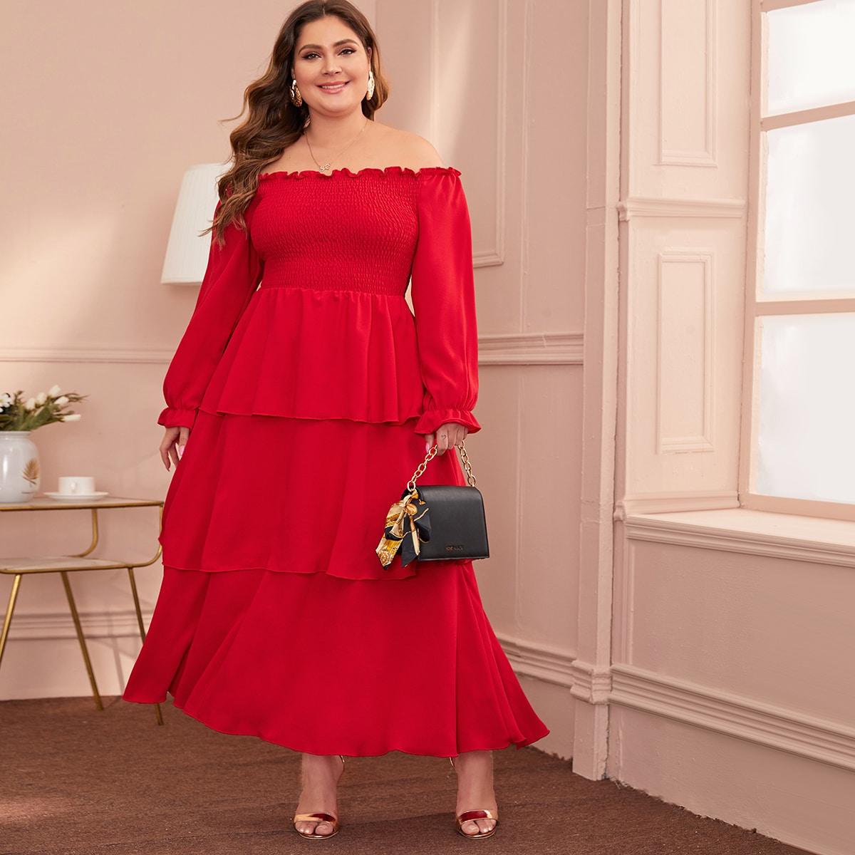 A Linie Kleid mit Falten in großen Größen