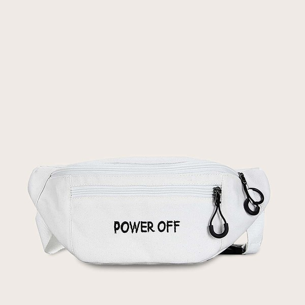 Men Letter Embroidered Canvas Fanny Pack, White