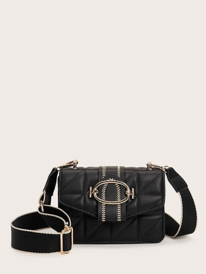 Stitch Detail Flap Crossbody Bag