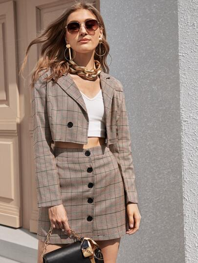 Plaid Crop Blazer & Button Through Skirt