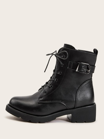 Buckle Decor Side Zip Combat Boots
