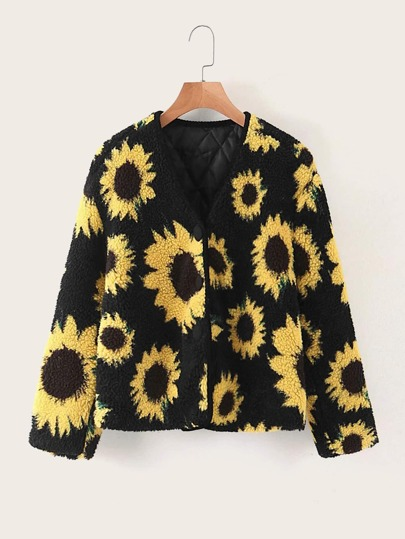 Sunflower Print Teddy Jacket