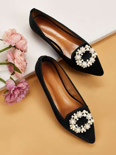 Rhinestone & Faux Pearl Decor Point Toe Flats