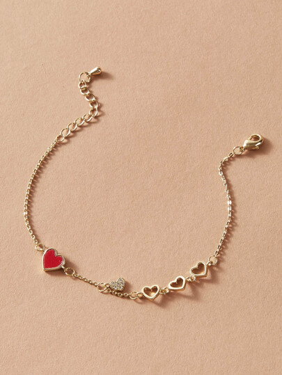 1pc Hollow Out Heart Decor Chain Bracelet