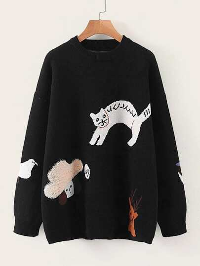 Drop Shoulder Cartoon Graphic Sweater