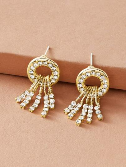 1pair Rhinestone Engraved Round & Tassel Drop Earrings