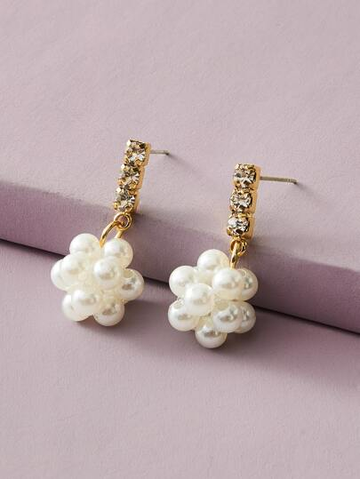 1pair Rhinestone Engraved Faux Pearl Beaded Drop Earrings