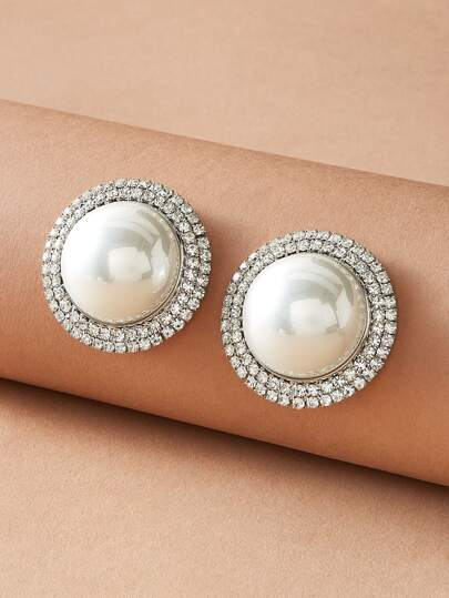 1pair Faux Pearl & Rhinestone Engraved Stud Earrings