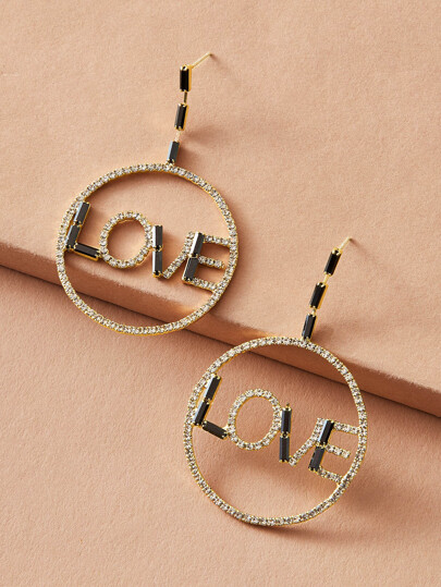 1pair Letter Decor Rhinestone Engraved Round Drop Earrings