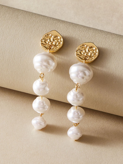 1pair Layered Faux Pearl Drop Earrings