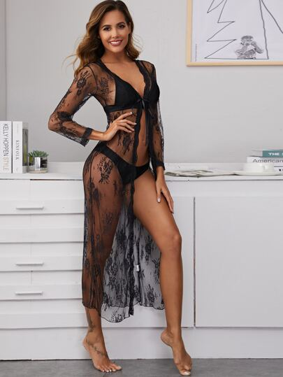 Floral Embroidery Mesh Long Sleeve Robe With Thong