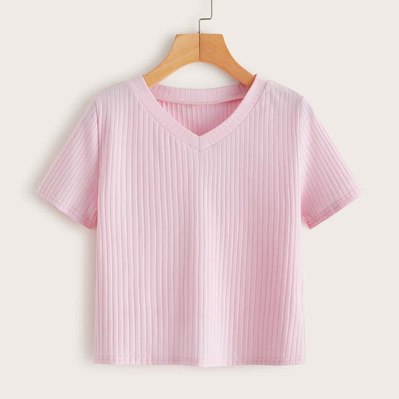 Solid V-neck Ribbed Tee, Pink