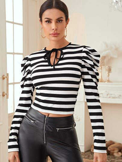 Puff Sleeve Tie Neck Crop Fitted Tee