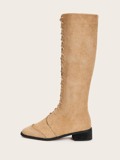 Lace-up Front Suede Knee High Boots