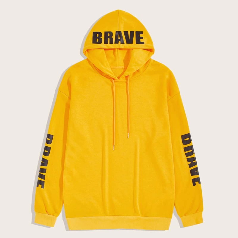 Guys Letter Graphic Drawstring Hooded Sweatshirt, Yellow bright