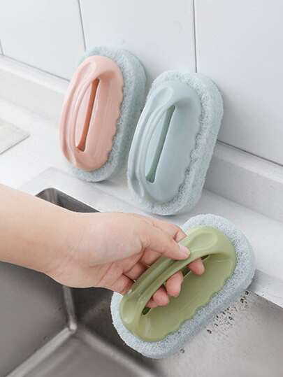 1pc Cleaning Sponge With Handle