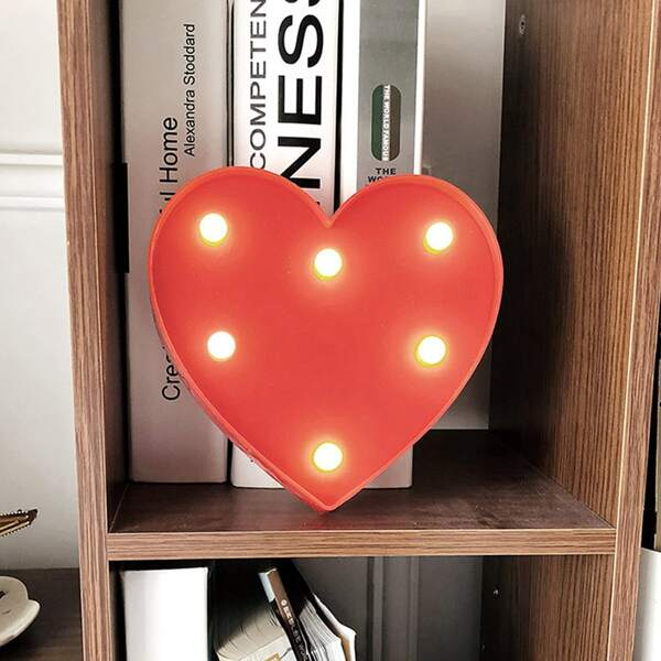 Heart Shaped Night Light, Red