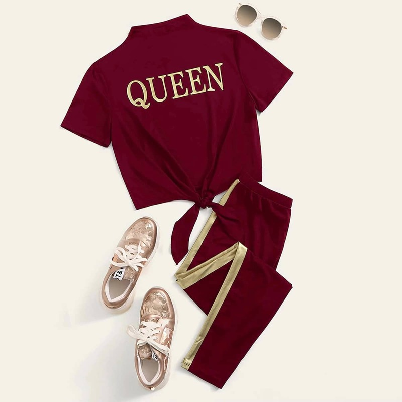 Slogan Graphic Tee & Metallic Tape Sweatpants Set, Burgundy