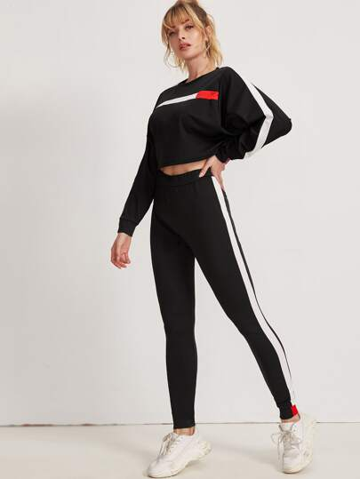 Contrast Panel Top With Sweatpants
