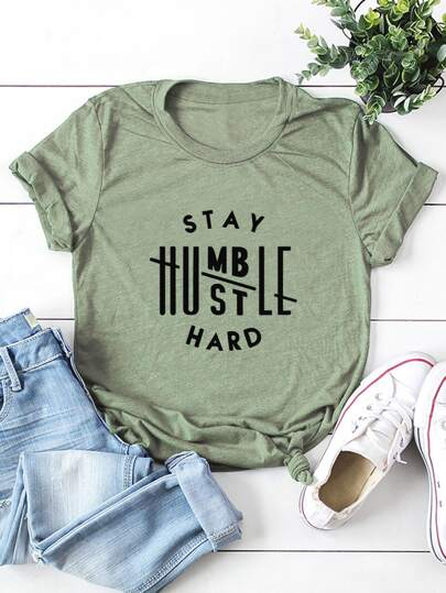 Slogan Graphic Short Sleeve Tee