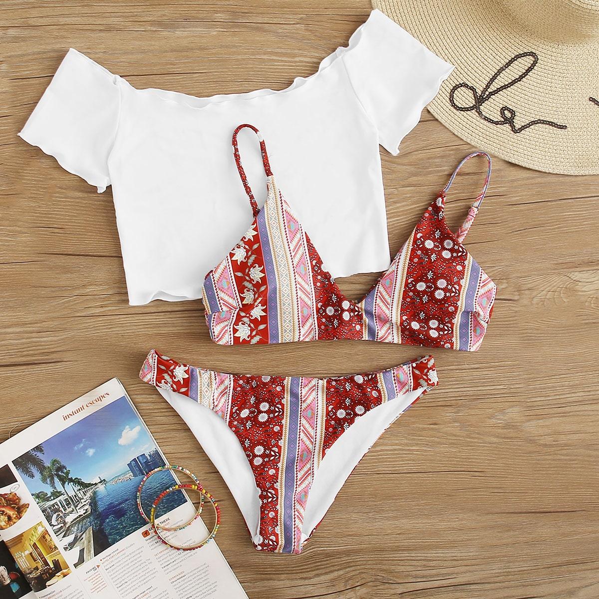 Co-ord Bikini Set mit zufälligem Stamm Muster 3 Stücke