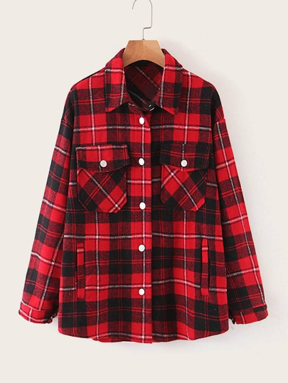 Flap Pocket Plaid Tweed Coat