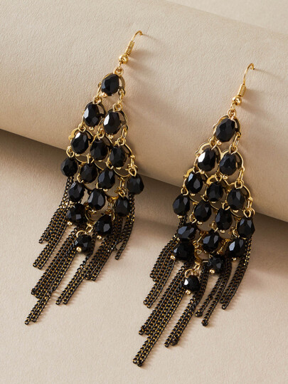 1pair Bead & Chain Tassel Drop Earrings