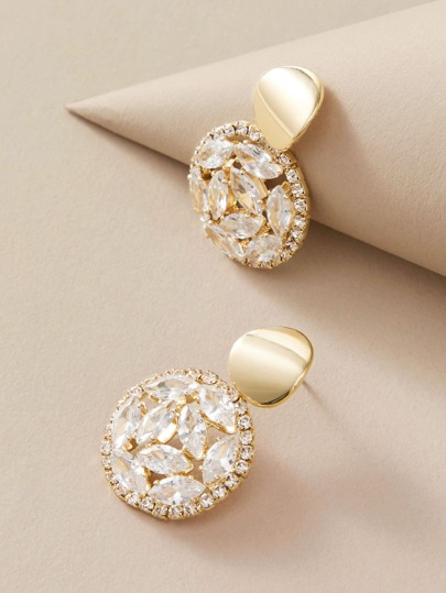 1pair Hollow Out Rhinestone Engraved Round Drop Earrings