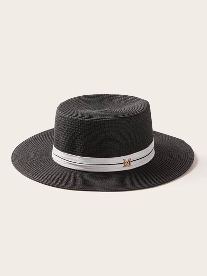 Letter Decor Straw Woven Hat