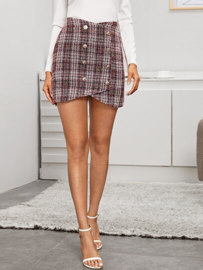 Asymmetrical Double Button Tweed Skirt