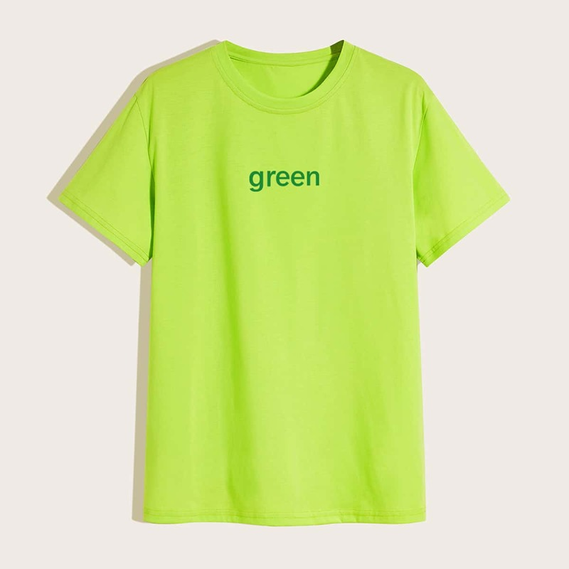 Guys Neon Lime Letter Graphic Tee, Green bright