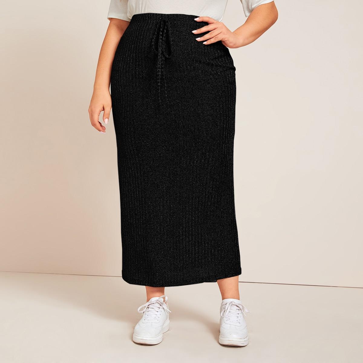 Вязаная юбка размера плюс с узлом
