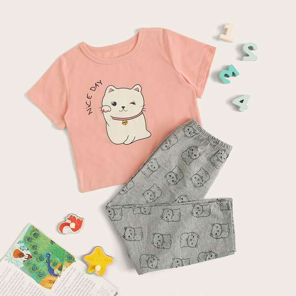 Toddler Girls Cartoon Cat Print PJ Set, Multicolor