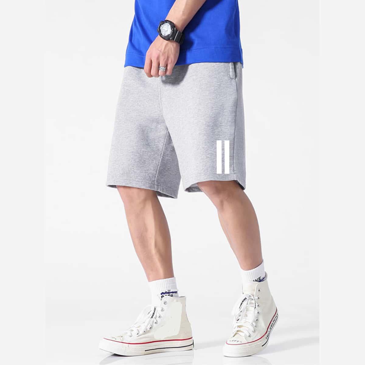 Мужские шорты с карманом и полосками