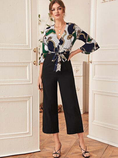 Chain Print Surplice Front Belted Jumpsuit