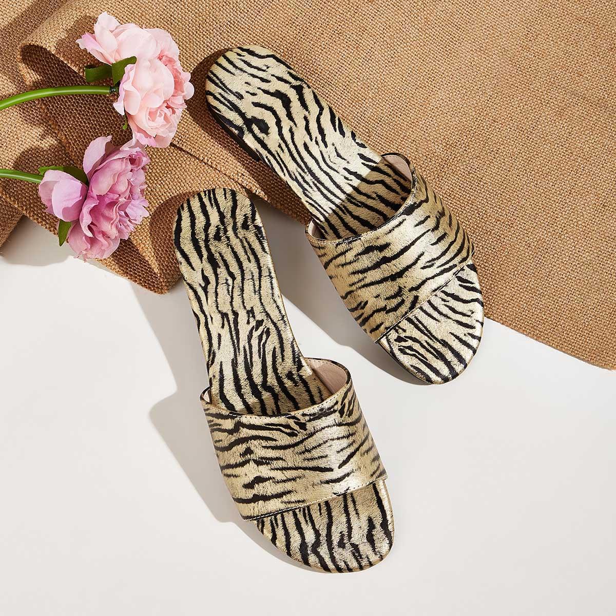 Тигровые полосатые тапочки с открытым носком