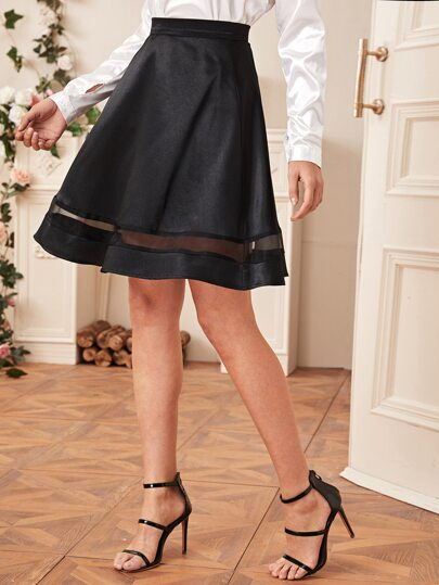 Zip Back Contrast Mesh Flared Skirt