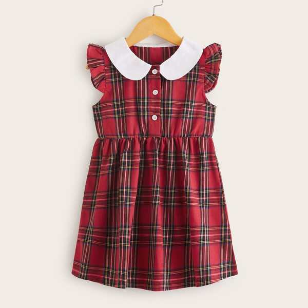 Toddler Girls Contrast Collar Tartan Shirt Dress, Red