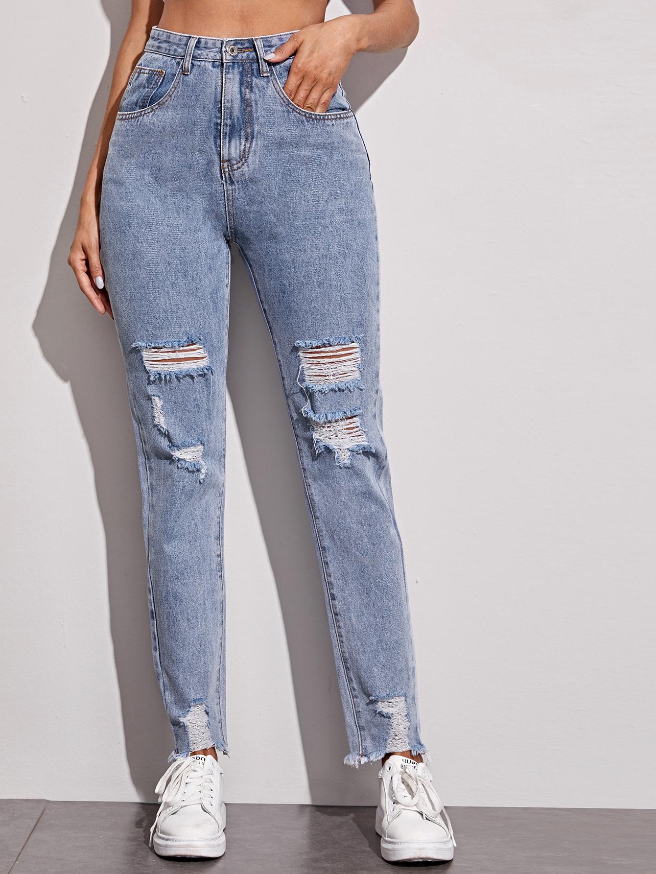 High Waisted Ripped Slant Pocket Mom Jeans thumbnail