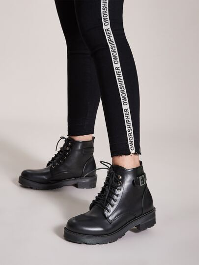 Lace-up Front Buckle Decor Combat Boots