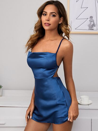 Criss Cross Satin Lingerie Cami Dress